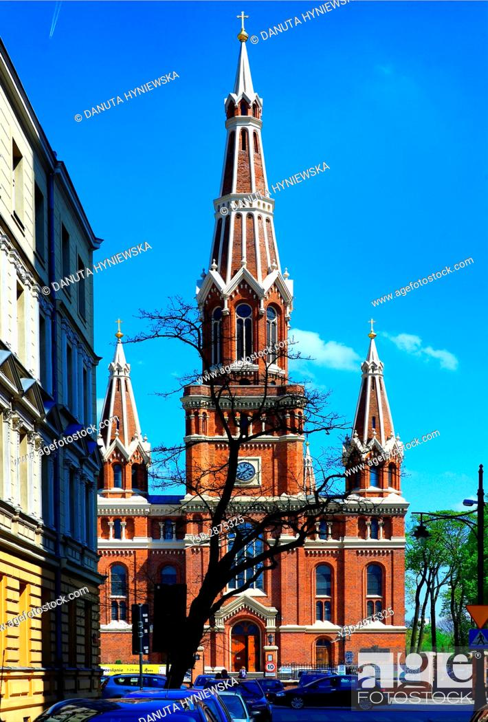 Stock Photo: Jesuits Church of the Most Holy Name of Jesus in Lodz, Poland, Europe.