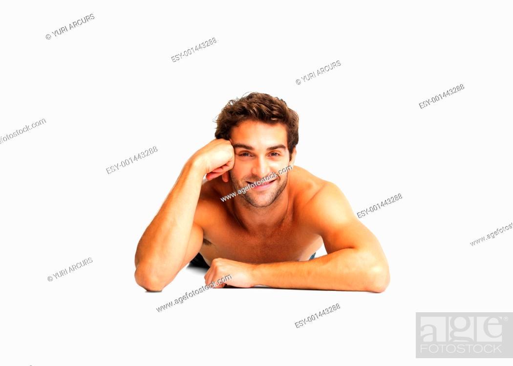 Stock Photo: Sexy shirtless man lying down.