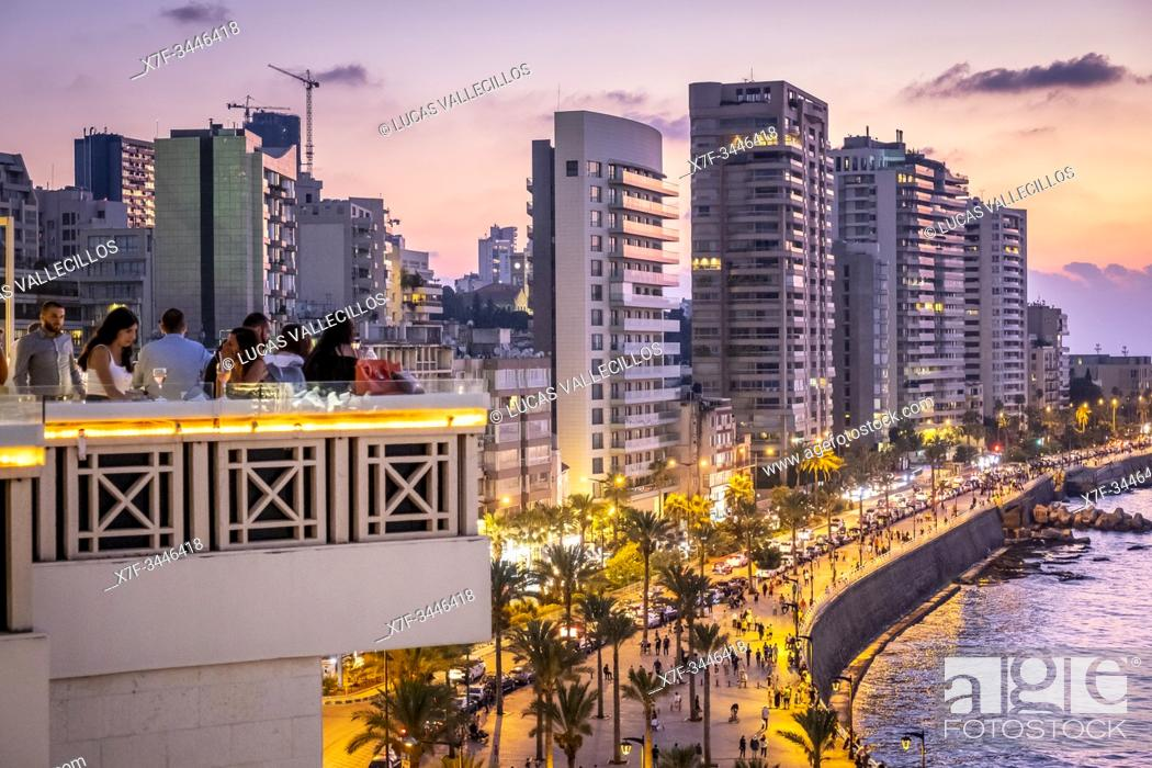 Stock Photo: Skyline, View of Corniche from the bar of Bay View Hotel, Beirut, Lebanon.