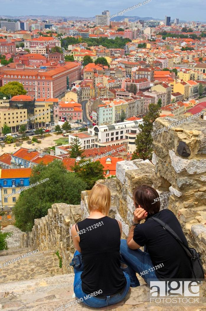 Stock Photo: Lisbon, View from St  George's Castle, Portugal, Europe.