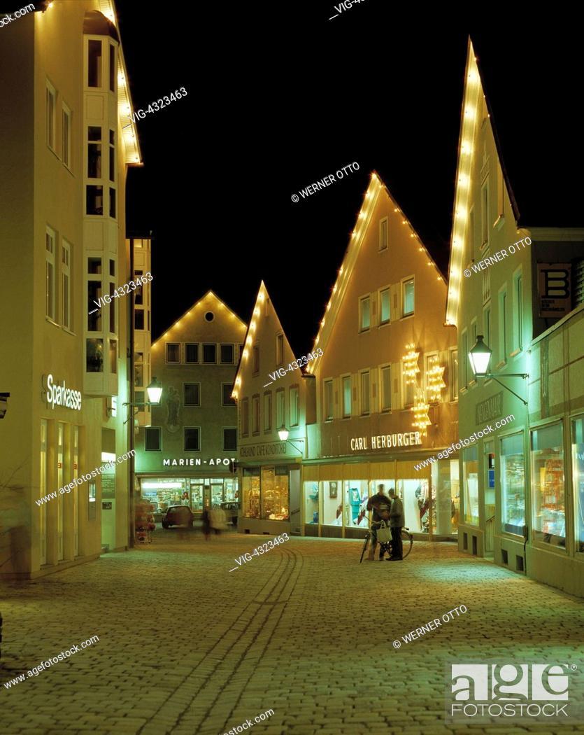 Otto Weihnachtsbeleuchtung.D Immenstadt Allgaeu Schwaben Bayern Fussgaengerzone
