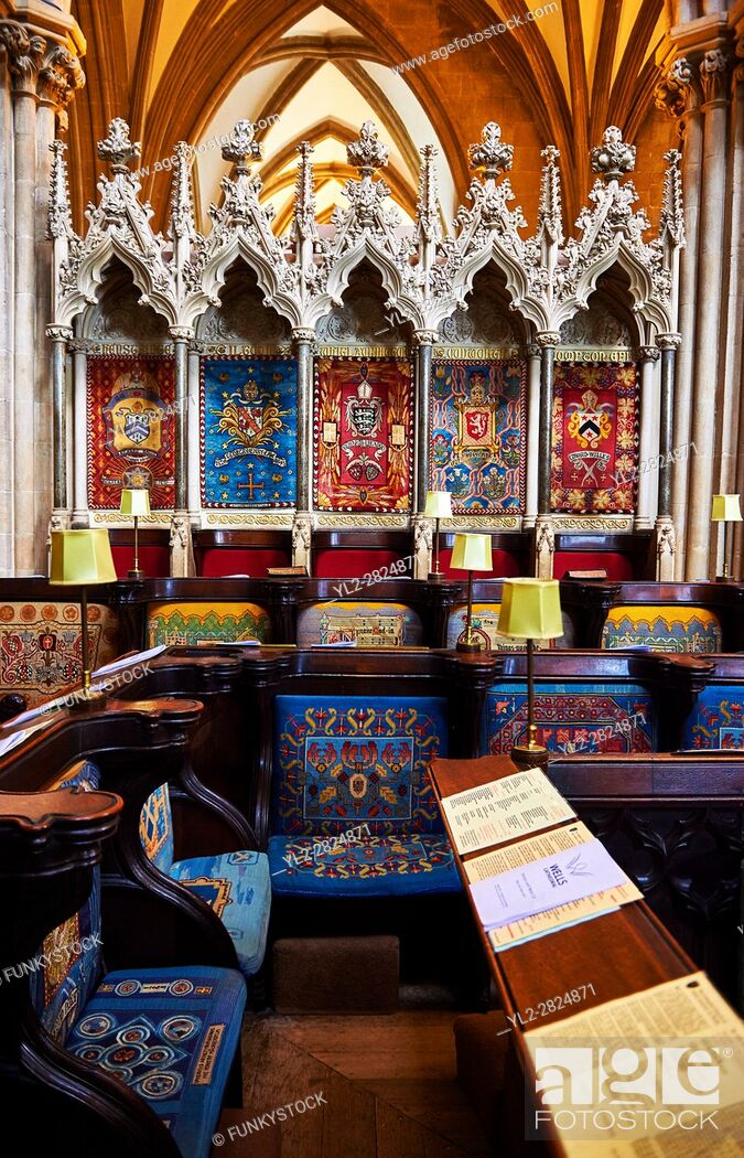 Stock Photo: The choir of the medieval Wells Cathedral built in the Early English Gothic style in 1175, Wells Somerset, England.
