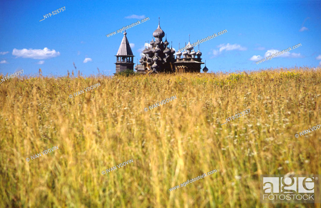 Stock Photo: Wooden church in Kizhi (18th century), UNESCO Heritage object, Karelia, Russia.