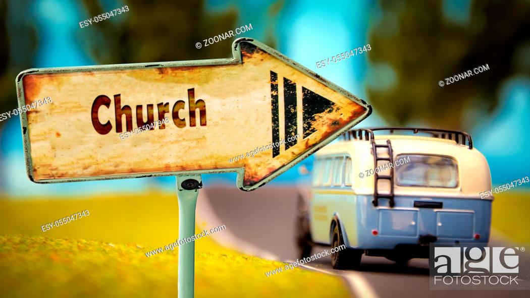 Stock Photo: Street Sign the Direction Way to Church.