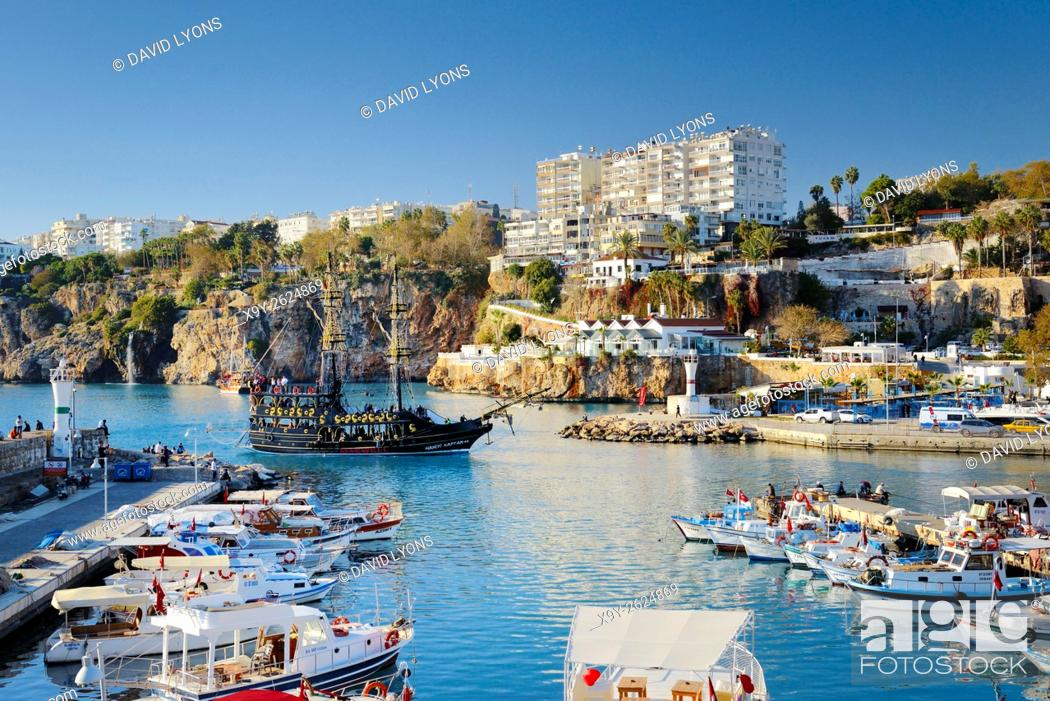 Stock Photo: Kaleici is the historic centre of the city of Antalya, Turkey. NW over the old harbour and marina on the Mediterranean coast.