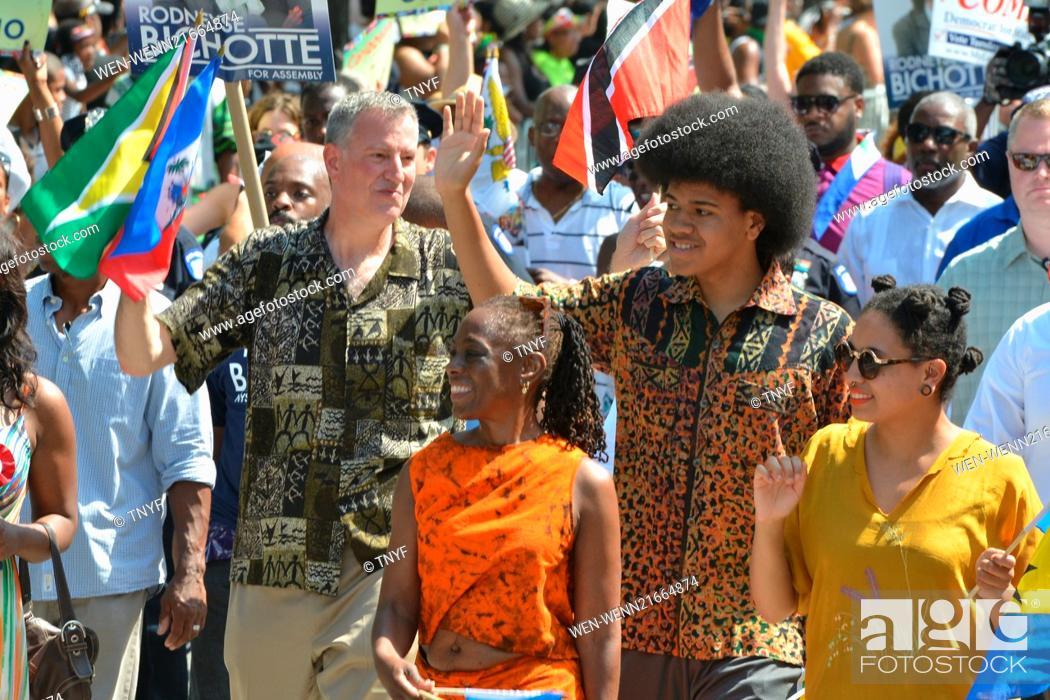Stock Photo: Scenes from the 2014 West Indies Day Parade Featuring: Bill de Blasio,Chirlane McCray,Chiara de Blasio,Dante de Blasio,Andrew Cuomo Where: Manhattan, New York.
