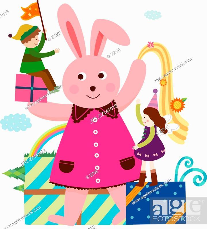 Stock Photo: rabbit and children.