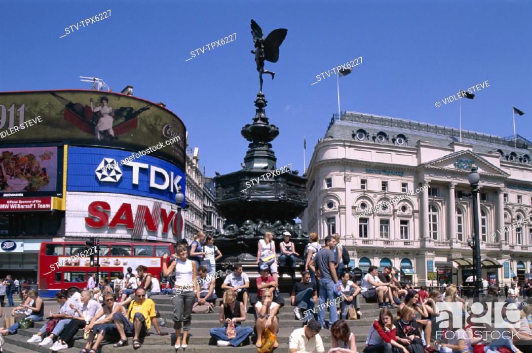 Stock Photo England United Kingdom Great Britain Eros Holiday Landmark London Piccadilly Circus Statue Tourism Travel Vacation