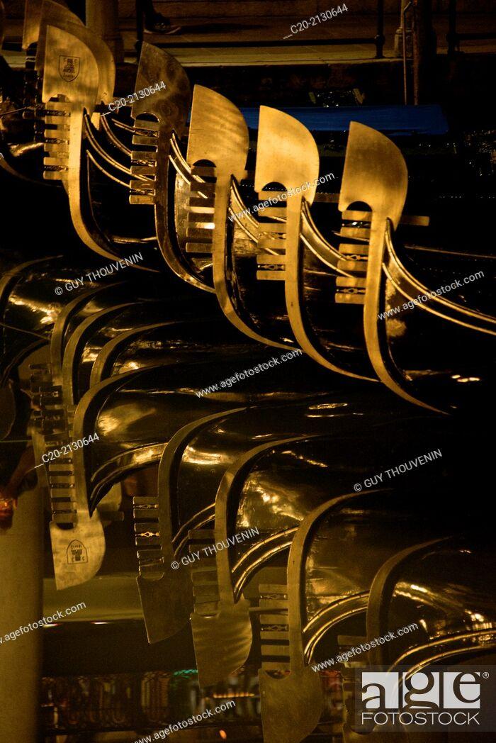 Stock Photo: Gondolas at night, Venice, Italy.