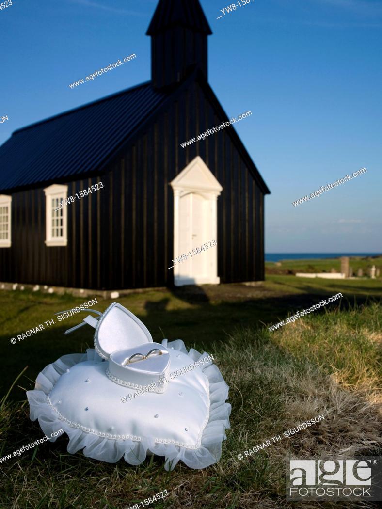 Stock Photo: Wedding rings, Budir Church, Snaefellsnes Peninsula, Iceland.
