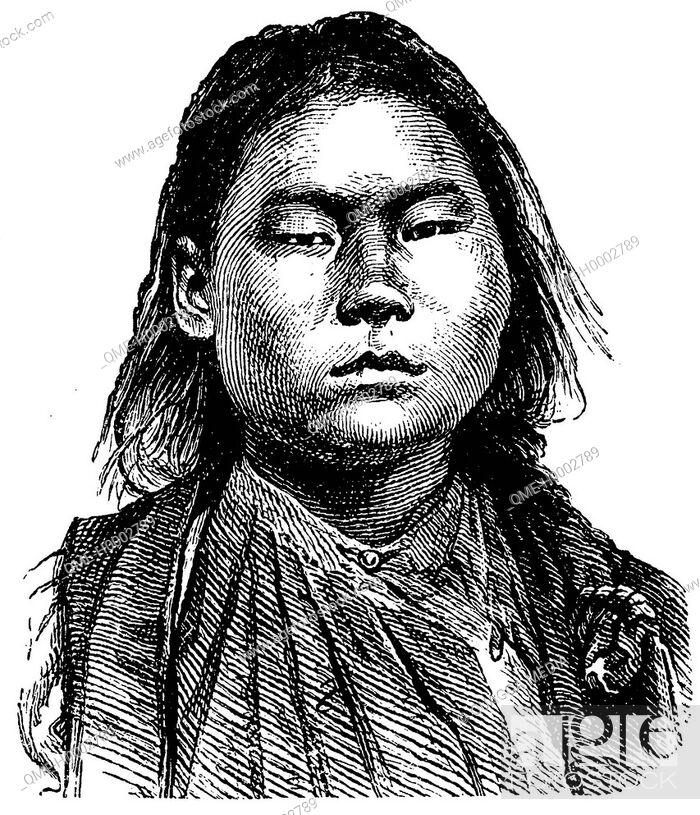 Stock Photo: Portrait of a Mongolian woman.