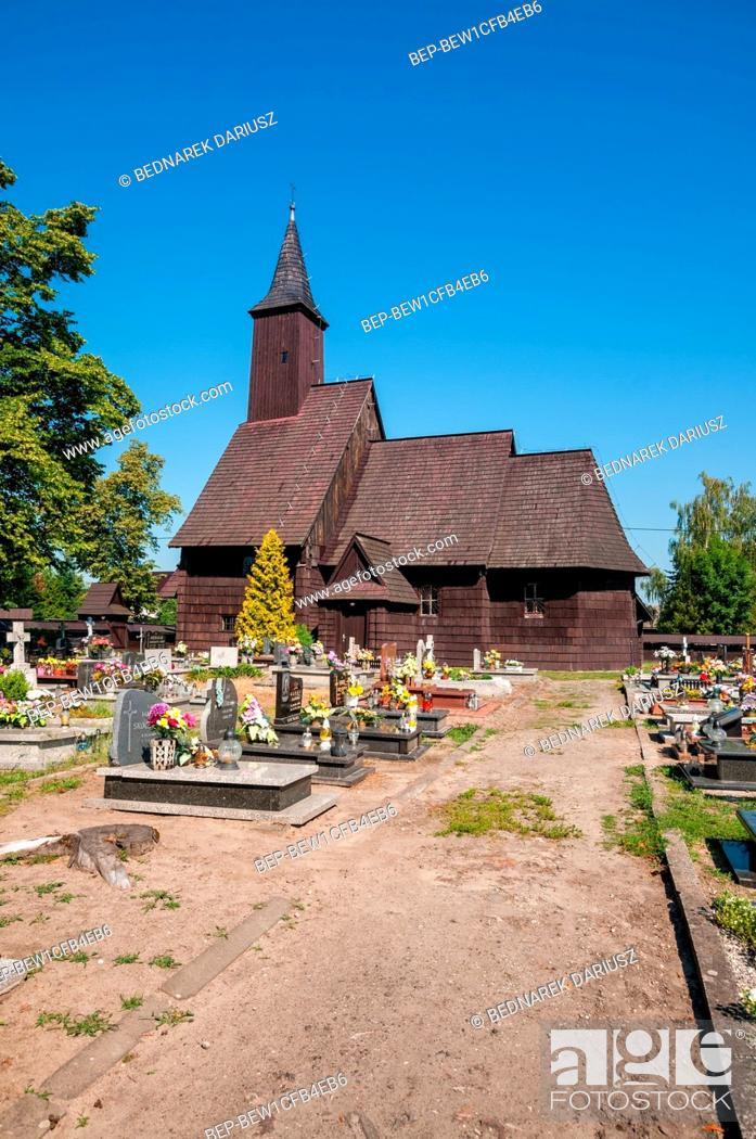 Stock Photo: Church of the Nativity of the Holy Virgin Mary in Brzezinki, village in Swietokrzyskie voivodeship. Poland.