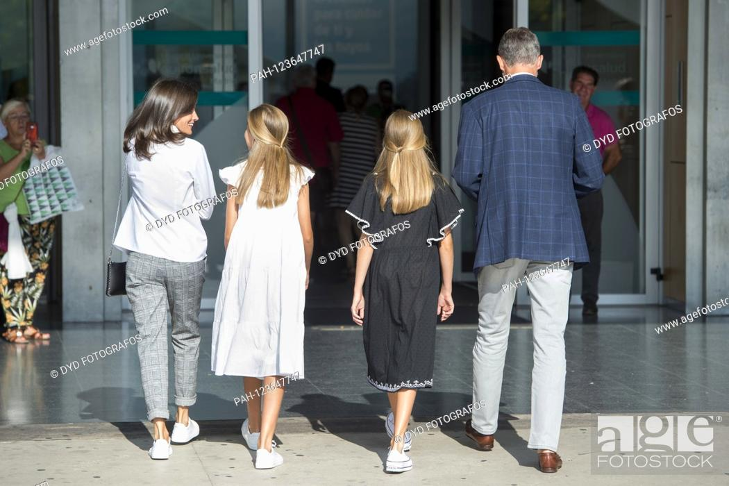 Stock Photo: Queen Letizia of Spain, Princess Sofia of Spain, Princess Leonor of Spain and King Felipe VI. from Spain visit Juan Carlos after his heart surgery at the.