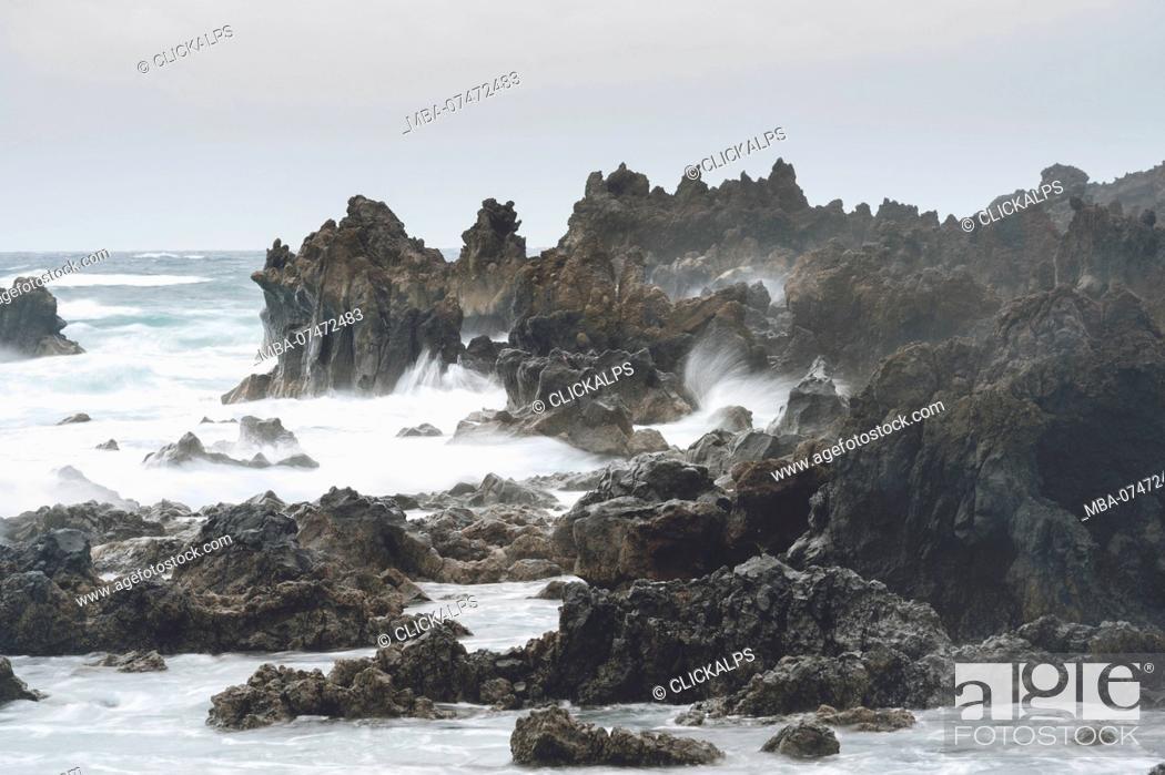 Stock Photo: Cliffs in Los Hervideros, Timanfaya National Park, Lanzarote, Canary Island, Spain, Europe.