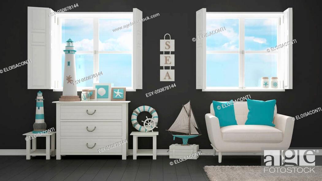 Stock Photo: Mediterranean white and gray living, panoramic windows, summer hotel resort interior design.