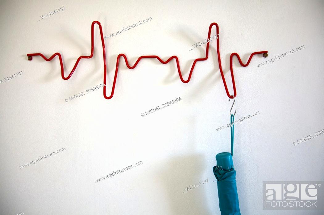 Stock Photo: Heartbeat Coat Rack.
