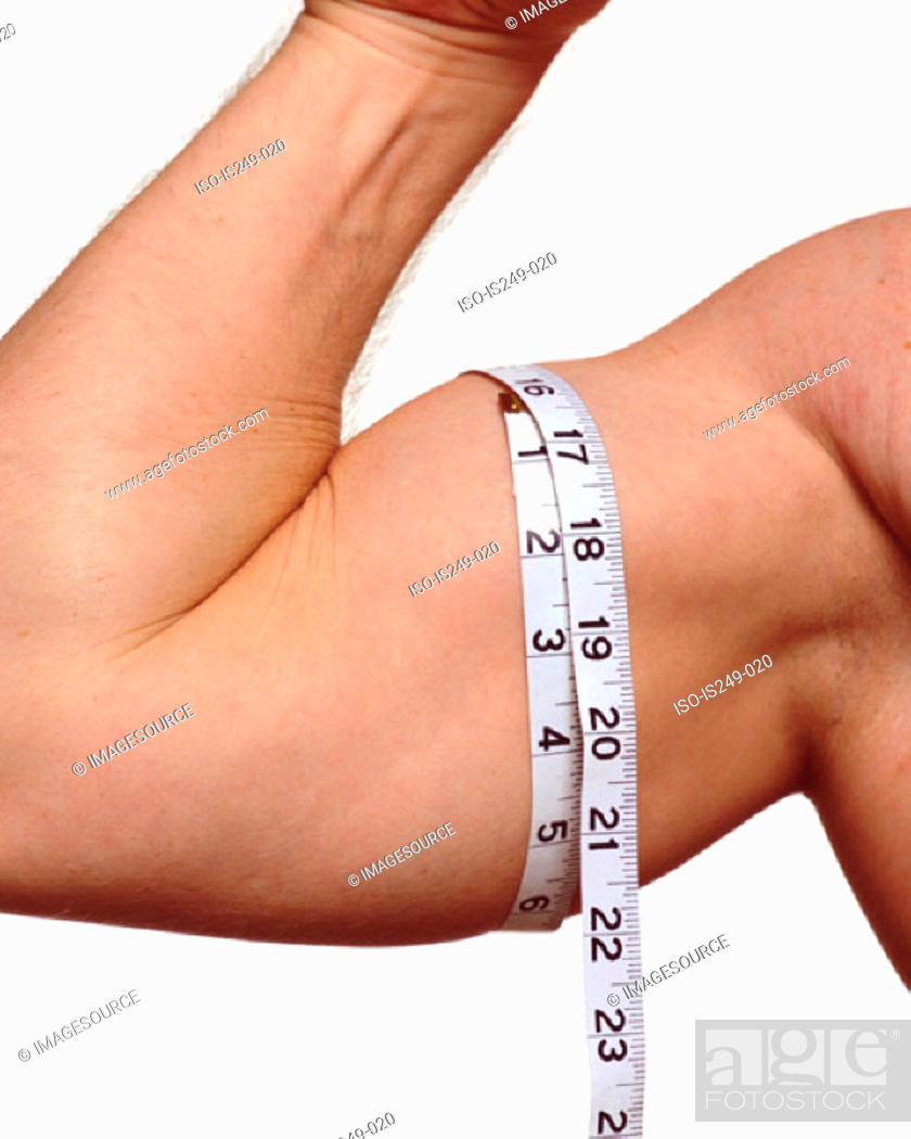 Stock Photo: Measuring male upper arm.