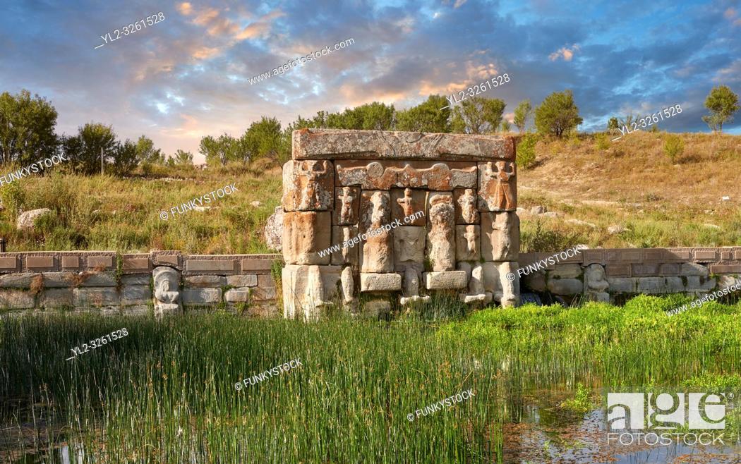 Stock Photo: Eflatun P?nar ( Eflatunp?nar) Ancient Hittite relief sculpture monument and sacred pool, and its Hittite relief scultures of Hittite gods.