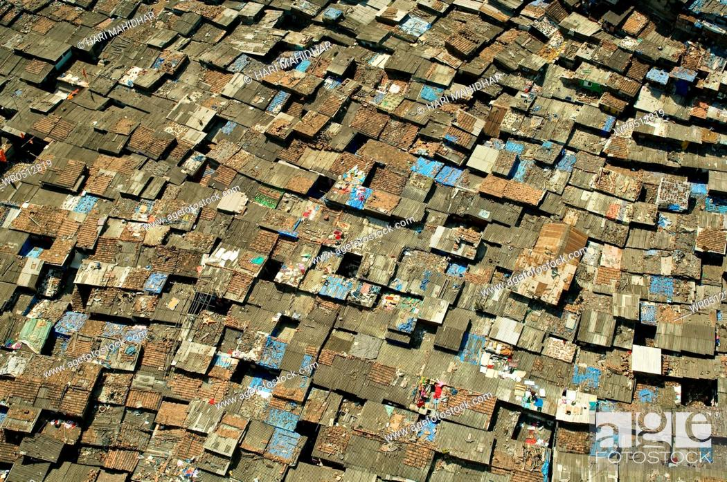 Stock Photo: Aerial view of worli slum , Bombay , Mumbai , Maharashtra , India.
