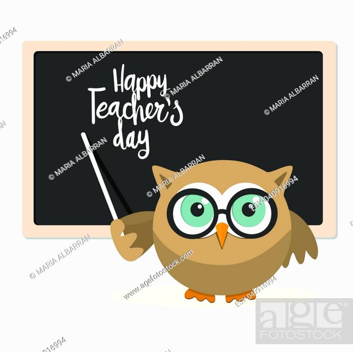 Stock Vector: Happy teachers day with owl teacher on a white background.