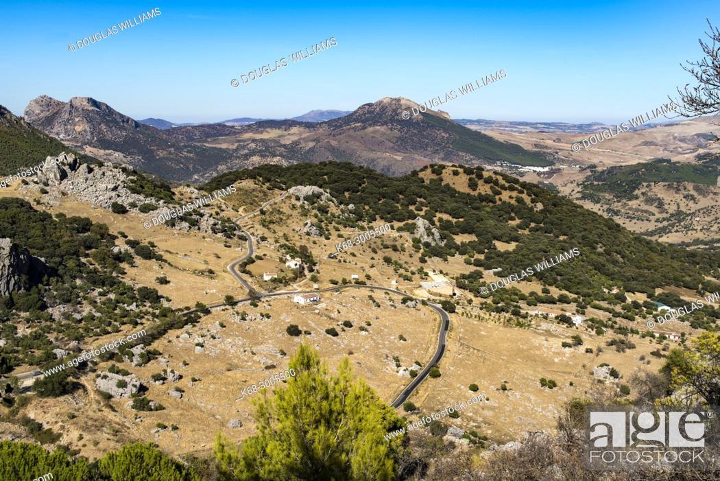 Stock Photo: Landscape below the village of Grazalema, Cadiz province, Andalucia, Spain.