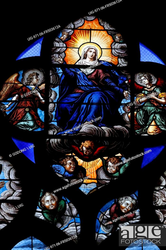 Stained Glass Window The Assumption Of Blessed Virgin Mary Into