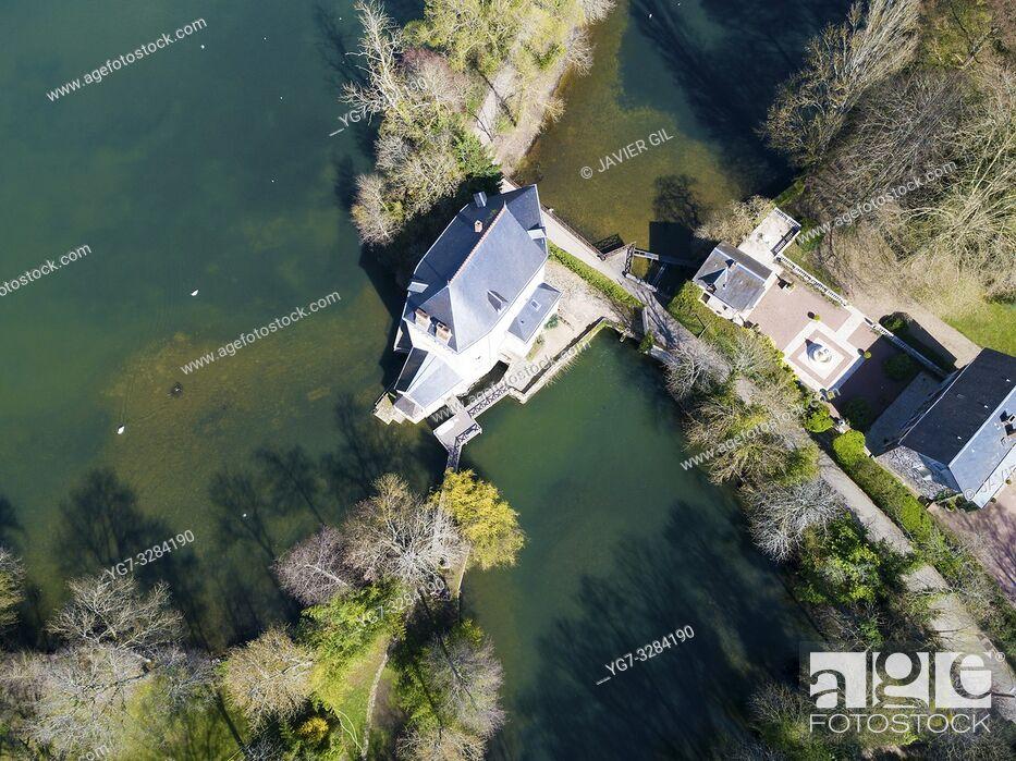 Stock Photo: Loiret river, Olivet, Loiret, Centre-Val de Loire, France.