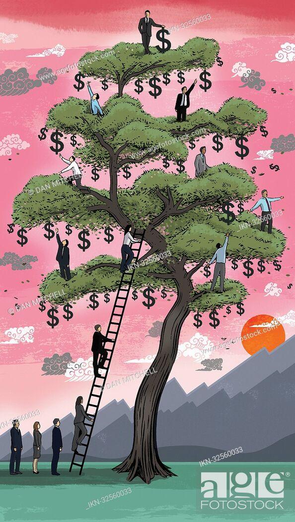 Imagen: Business people climbing on money tree.