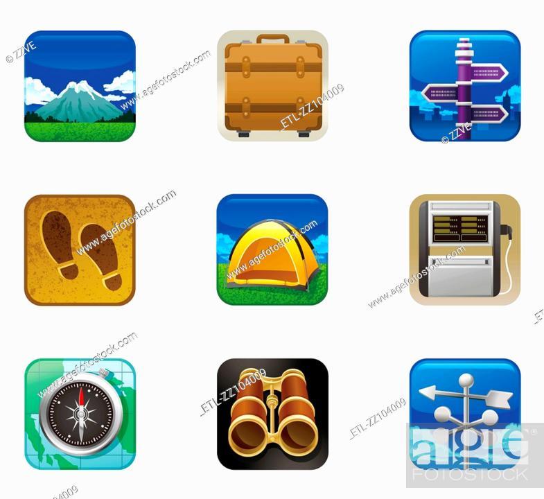Stock Photo: Travel set icon.