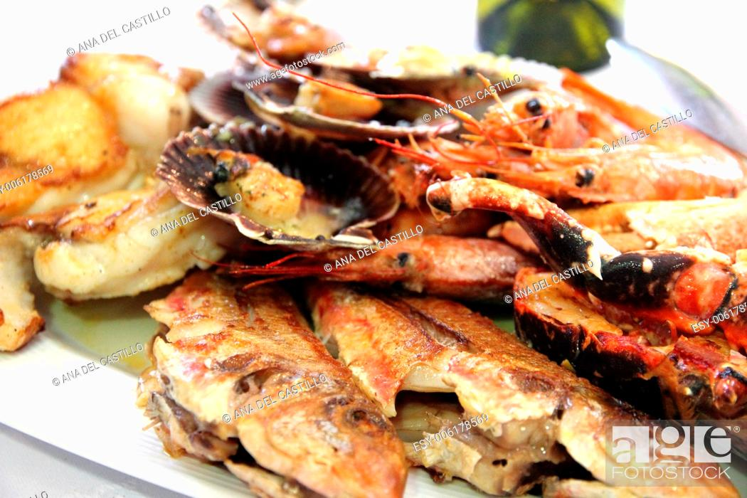 Stock Photo: Mariscada seafood on plate Galicia Spain.