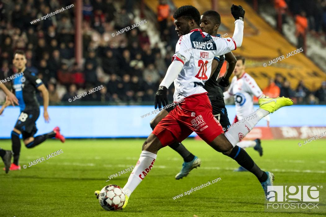 Kortrijk s Teren Moffi Scores A Goal During A Soccer Match Between KV Kortrijk And Club Brugge KV Stock Photo Picture And Rights Managed Image Pic VPM Agefotostock