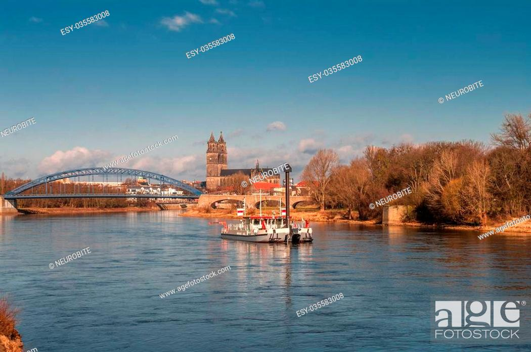 Stock Photo: View on The Magdeburg Cathedral, Bridge and old ship on Elbe.