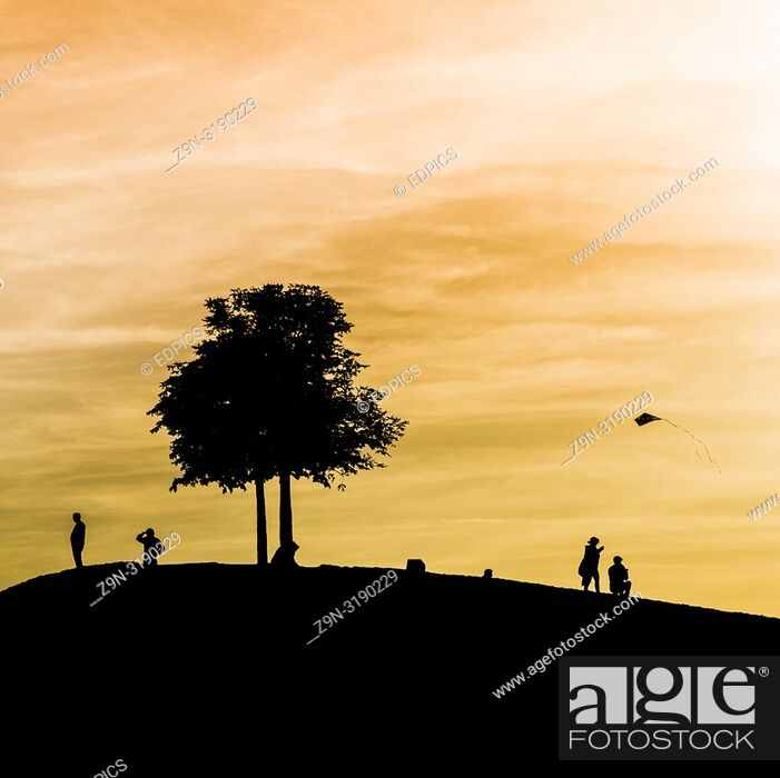 Stock Photo: silhouettes of people on a hill under a tree and a child flying a kite at dusk, karlsruhe, baden-wuerttemberg, germany.