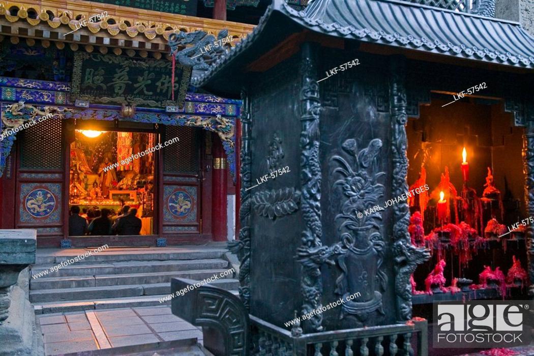 incense burner, candles, Pusa Ding summit monastery, morning prayers