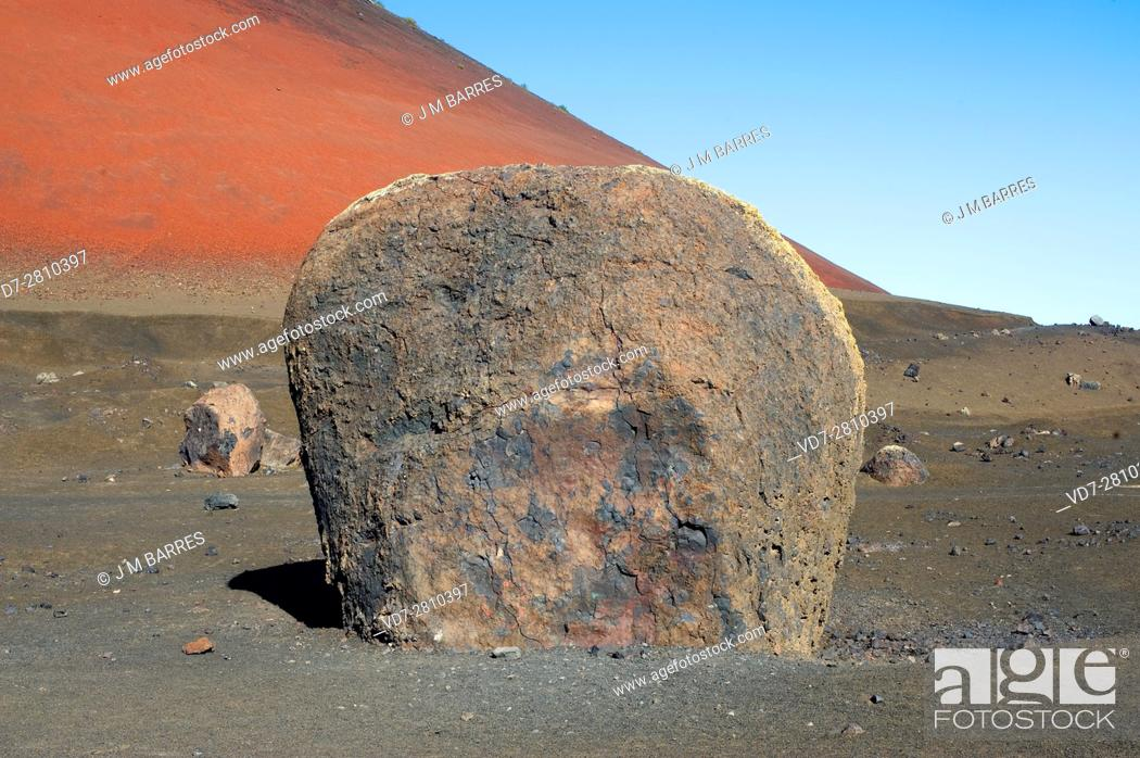 Stock Photo: Giant volcanic bomb. Montana Roja Volcano, Lanzarote Island, Canary Islands, Spain.