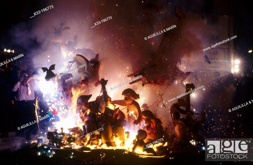 Stock Photo: Fallas, festive bonfires on the night of St. Joseph. Valencia. Spain.