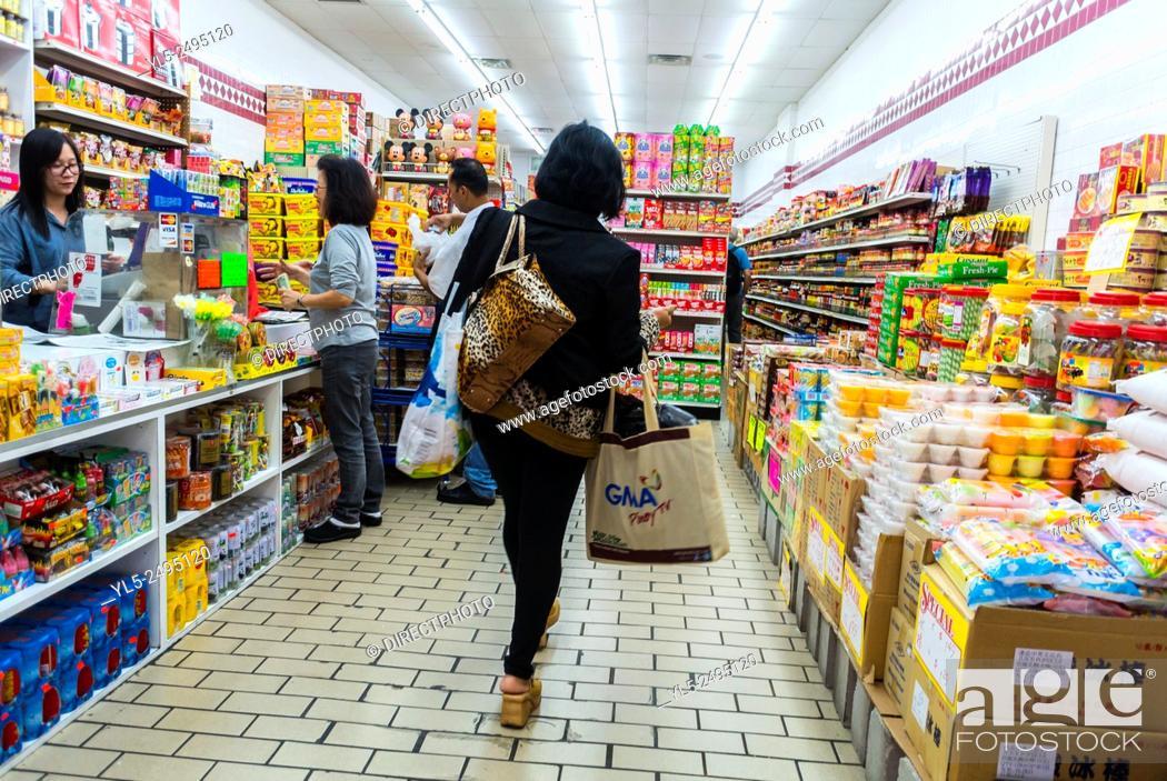 Stock Photo: New York City, USA, Chinatown District, Chinese Women Shopping in Chinese Supermarket.