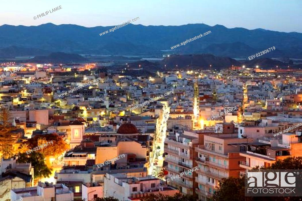 Stock Photo: Mediterranean town Aguilas at night. Province of Murcia, Spain.