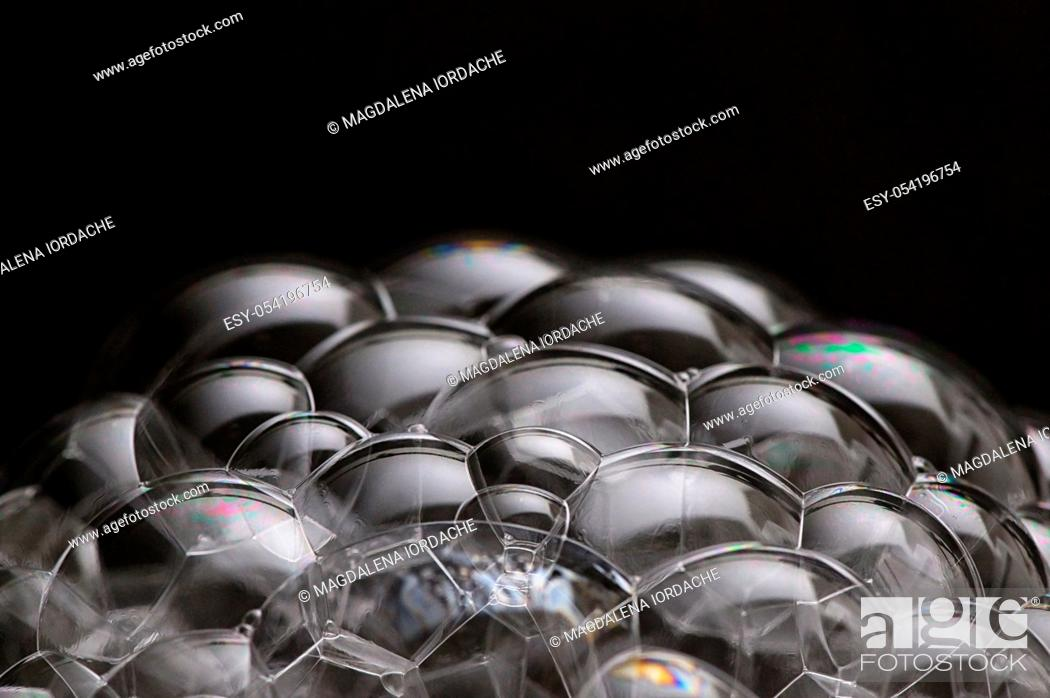 Stock Photo: Macro Soap Bubbles On Black Background.