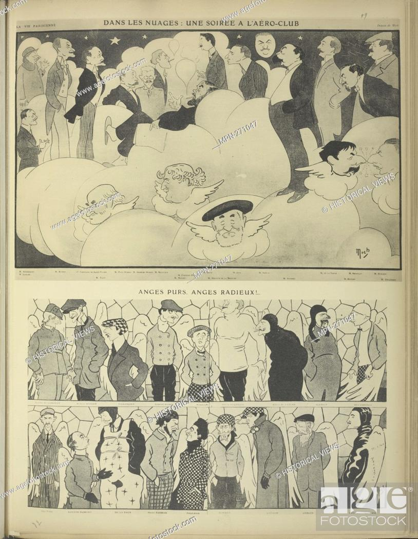"""Stock Photo: Pure angels, Radiant angels. Caricatures of Mich, published in """"""""Vie Parisienne"""""""". La Vaulx, Henry de, 1870-1930 (Author) Liebeaux, Michel (1881-1923) (Artist)."""