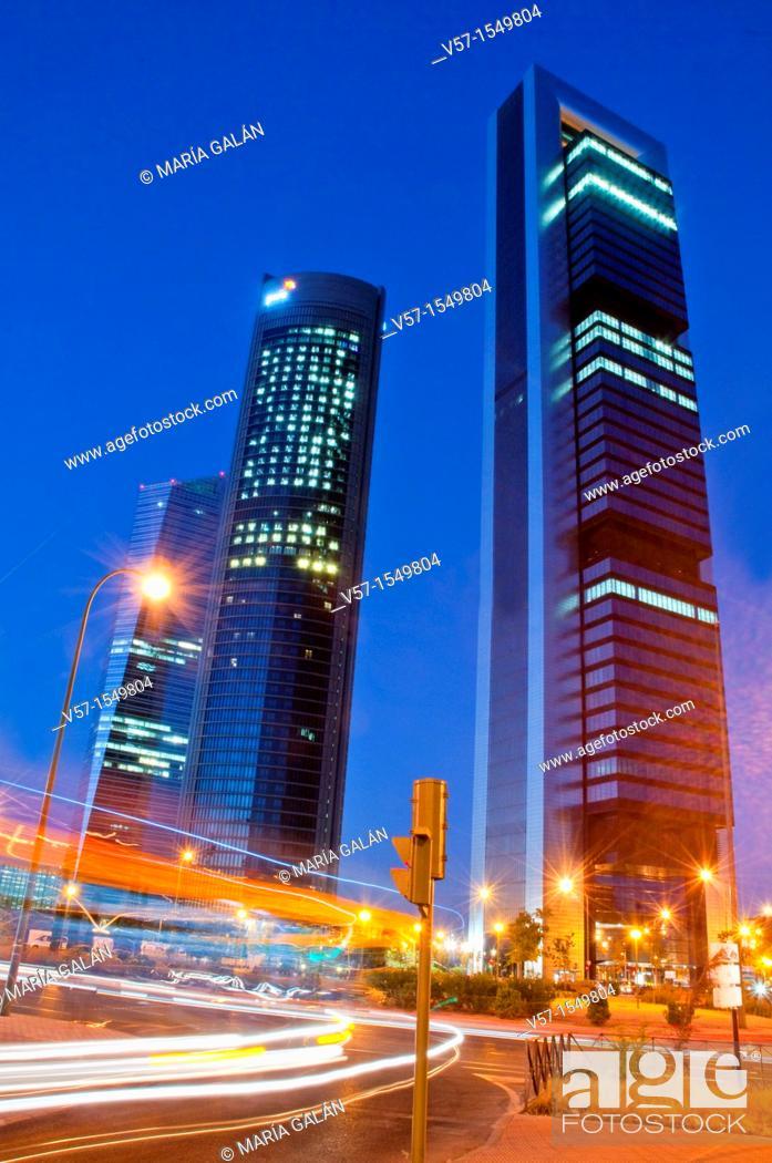 Stock Photo: Cuatro Torres Business Area, night view. Madrid, Spain.