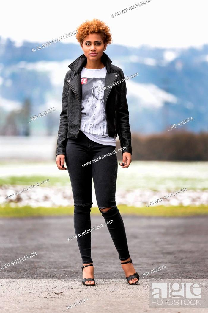 Stock Photo: Young dark woman, fashion.