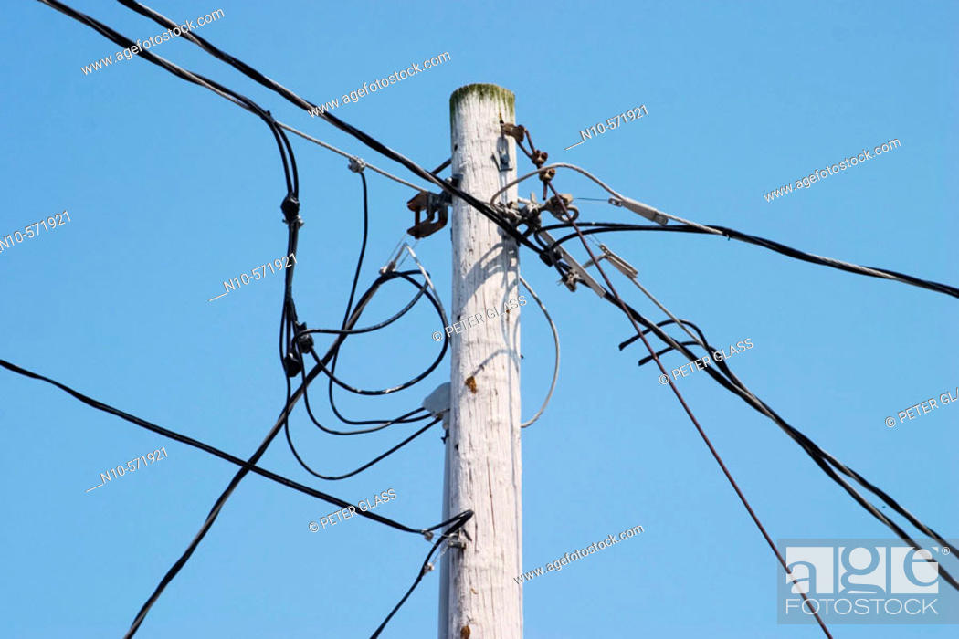 Wires connected to a telephone pole, Stock Photo, Picture
