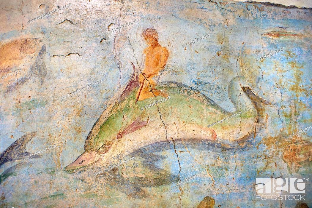 Stock Photo: Roman Fresco with a boat decorated for a festival and marine life from the second quarter of the first century AD. (mosaico fauna marina da porto fluviale di.