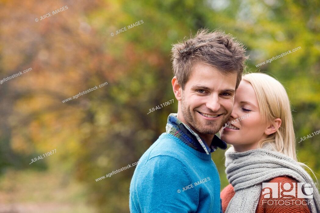 Stock Photo: Young couple on college campus.