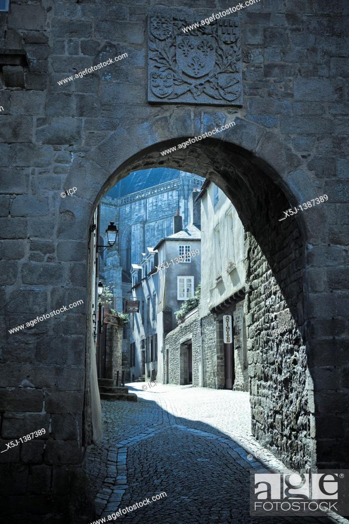 Stock Photo: Old medieval street scene Vannes, Brittany, France, Europe.