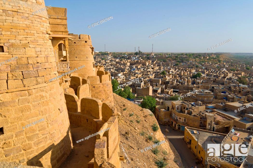 Stock Photo: View of Jaisalmer from the Jaisalmer Fort, Jaisalmer, India.
