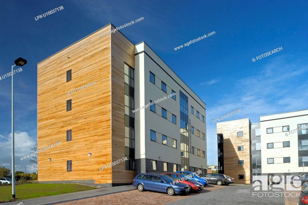Stock Photo: New property development using environmentaly friendly timber cladding features.