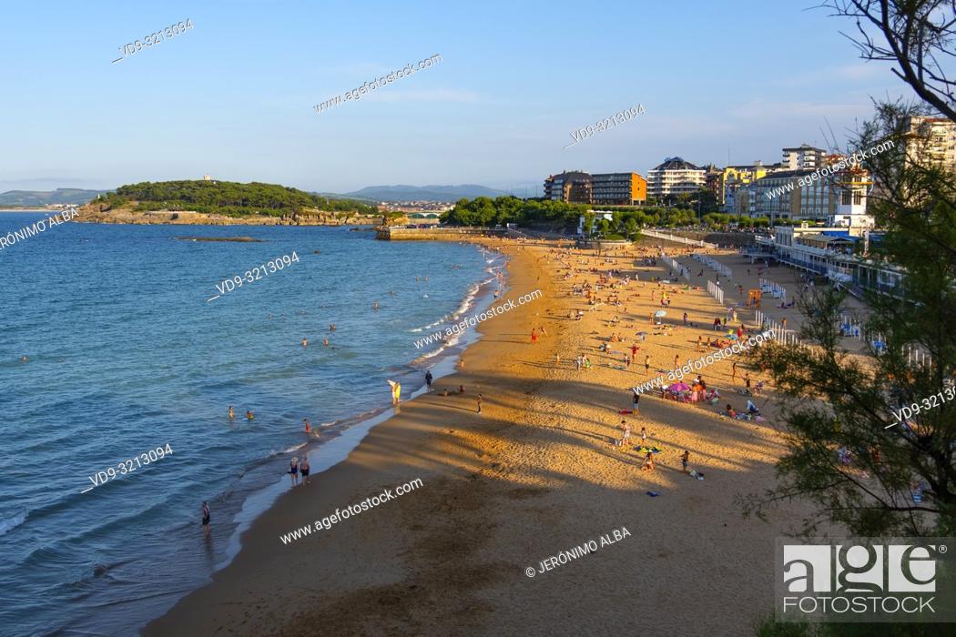 Stock Photo: Sardinero beach in summer. Santander, Cantabrian Sea, Cantabria, Northern Spain, Europe.