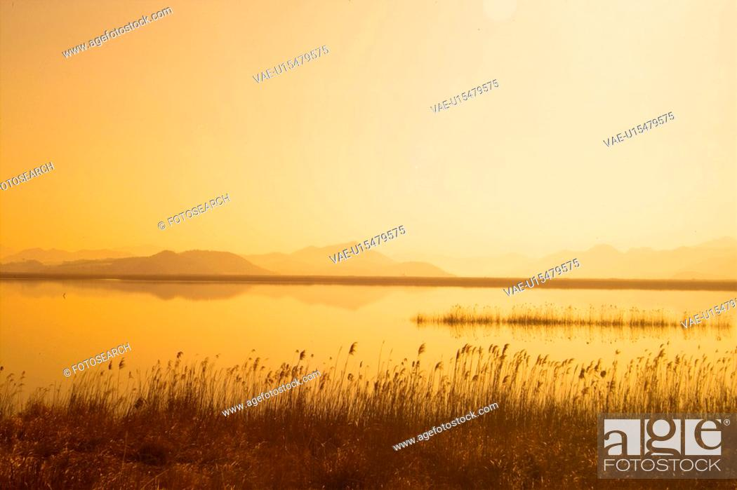 Stock Photo: landscape, sunset, natural world, eulalia, scenery, river.
